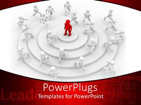 PowerPoint template displaying 3D white figures climbing circular stairs to a red 3D figure standing atop of the stair, leadership related words on red background