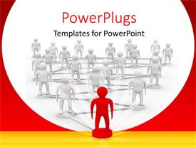 PowerPoint template displaying 3D white figures connected together and to a red figure depicting leadership concept