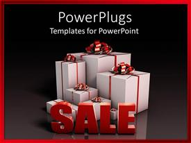 PowerPoint template displaying 3D white gift boxes with red ribbons and large sale word in front of presents