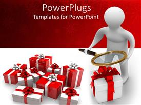PowerPoint template displaying 3D white man with magnifying glass over gift packs with ribbons