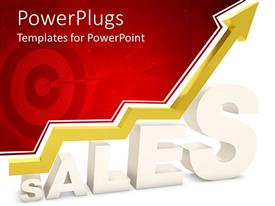 PowerPlugs: PowerPoint template with 3D white sales word with yellow arrow pointing up depicting growth in sales and target with arrow fading in the red background