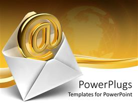 PowerPlugs: PowerPoint template with 3D white simple open envelope with @ symbol coming out of the envelope, email symbol in classic envelope, depiction of globe fading in golden background