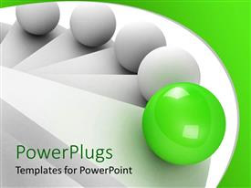 PowerPlugs: PowerPoint template with 3D white stair steps and balls climbing up the stairs, leadership concept with green glowing ball leading four white balls up the stairs