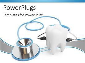 PowerPlugs: PowerPoint template with a 3D white tooth with a stethoscope on it