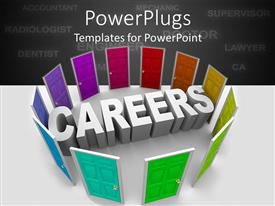 PowerPlugs: PowerPoint template with 3D white word careers surrounded by rainbow colored shut doors and career related words on gray background