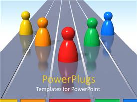 PowerPlugs: PowerPoint template with 3D wooden colorful figures on a glossy reflective running track surface