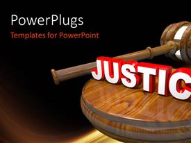 PowerPlugs: PowerPoint template with 3D wooden judge's gavel and 3D white and red justice word atop on gavel