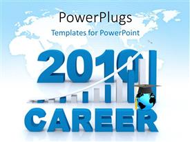 PowerPlugs: PowerPoint template with 3D word CAREER with earth globe on graduation cap over world map