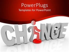 PowerPlugs: PowerPoint template with 3D word change with white letters and a figure replacing letter A in word change on white and red background