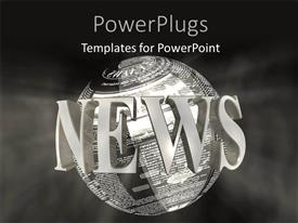 PowerPlugs: PowerPoint template with 3D word NEWS around earth globe with news articles over grey background