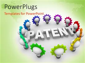 PowerPoint template displaying the 3D word Patent surrounded by many colorful light bulbs with map
