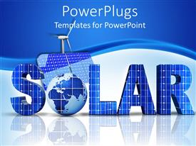 PowerPlugs: PowerPoint template with 3D word solar with Globe instead of letter O, solar panel and windmill on blue and white background