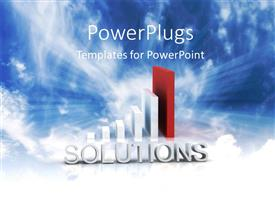 PowerPlugs: PowerPoint template with 3D word SOLUTIONS with bar chart over blue cloudy sky
