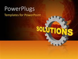 PowerPlugs: PowerPoint template with 3D word SOLUTIONS with cogwheel over world map in background
