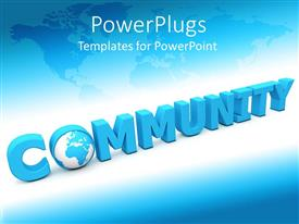 PowerPoint template displaying 3D word spells community with globe as letter O