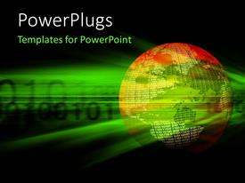 PowerPlugs: PowerPoint template with 3D world map of binary data placed over green binary tech background