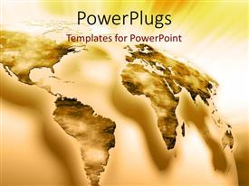 PowerPoint template displaying 3D world map image, with yellow color