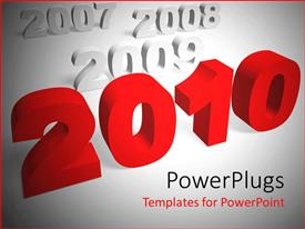 PowerPlugs: PowerPoint template with 3D writings of years with a red text that spells out the word ' 2010 '