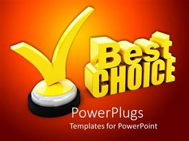 PowerPlugs: PowerPoint template with 3D yellow colored 'best choice' on a red background