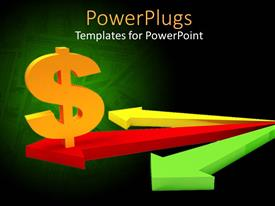 PowerPoint template displaying 3D yellow dollar sign on red arrow between yellow and green arrows