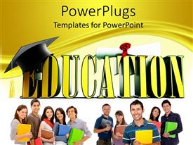 PowerPlugs: PowerPoint template with 3D yellow education word with graduation hat and diploma and students holding books and notebooks