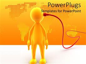 PowerPoint template displaying 3D yellow figure with red cable connected to his head and abstract depiction of world map in the background