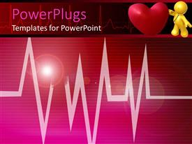 PowerPlugs: PowerPoint template with 3D yellow figure with stethoscope on red heart, heartbeat line
