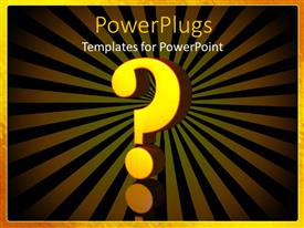 PowerPlugs: PowerPoint template with 3D yellow question mark sign on black and yellow background