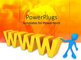 PowerPoint template displaying 3D yellow www and blue figure with yellow globe and internet word on background