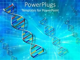 PowerPlugs: PowerPoint template with 4 strands of DNA in primary colors on light burst and grid blue background