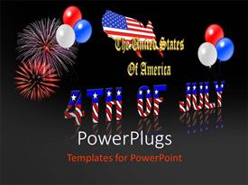 PowerPlugs: PowerPoint template with 4th July american independence, with balloons and fireworks