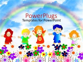 PowerPlugs: PowerPoint template with 5 kids playing happily in a garden full of flowers with a rainbow in the background