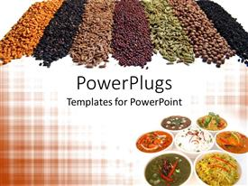 PowerPoint template displaying 7 different Indian spices and dishes arranged stylishly