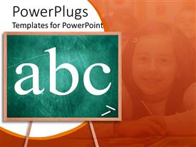 PowerPoint template displaying aBC on chalkboard with girl student in orange background, education, school, learning, teaching