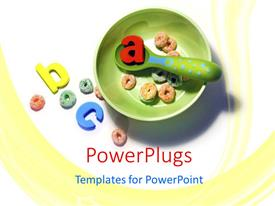 PowerPlugs: PowerPoint template with aBC letters in bowl with cereal and spoon, early childhood education, preschool