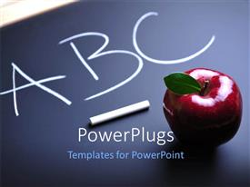 PowerPlugs: PowerPoint template with aBC written on blackboard with chalk and red apple sitting on board