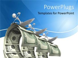 PowerPlugs: PowerPoint template with abstract 3D figures surfing on dollar waves