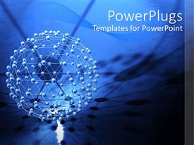 PowerPlugs: PowerPoint template with abstract 3D molecular structure network on blue network background