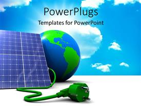PowerPlugs: PowerPoint template with abstract 3D solar panel with earth globe and sky in the background