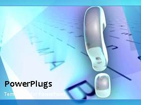 PowerPlugs: PowerPoint template with abstract animated depiction with large question mark symbol and letters in bacckground