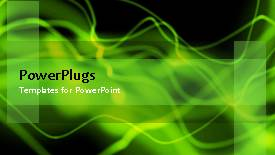 PowerPoint template displaying abstract animated green waves on black background - widescreen format
