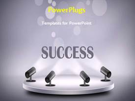 PowerPlugs: PowerPoint template with abstract animated success background with four searchlights on grey platform