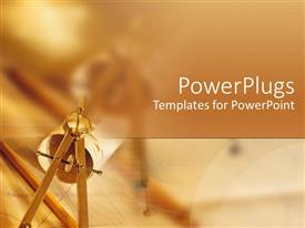 PowerPoint template displaying abstract architecture desk  brown orange autumn background persuasion pencil compass on blueprints