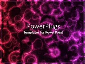 PowerPoint template displaying abstract ark of microscopic cell organisms, purple shade
