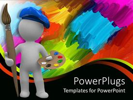 PowerPlugs: PowerPoint template with abstract artist with paintbrush and palette, abstract paint background