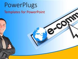 PowerPlugs: PowerPoint template with e-commerce depiction with earth globe and young businessman on blue background