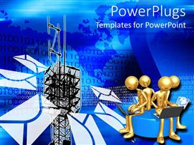 PowerPlugs: PowerPoint template with abstract background of blue with communication devices antenna and envelope