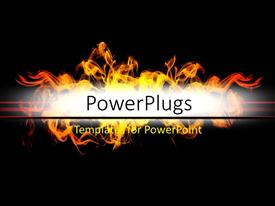 PowerPoint template displaying abstract background with flames over dark color
