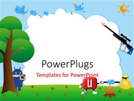 PowerPlugs: PowerPoint template with abstract background with funky social networking icons and tree