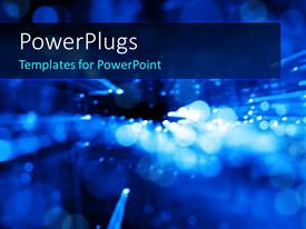 PowerPlugs: PowerPoint template with abstract background with glowing circular shapes over blue background